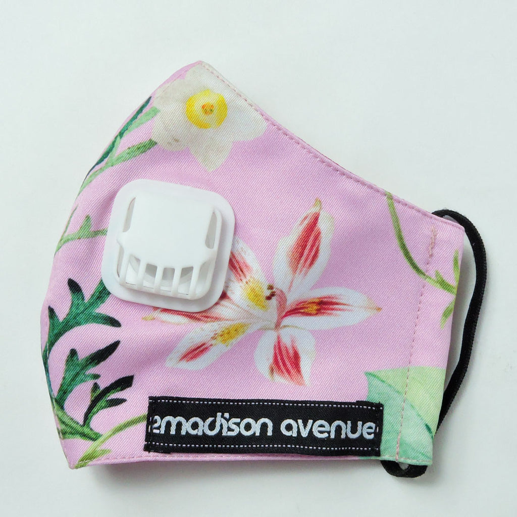 Spring Pink Facemask With Air Valve-2MADISONAVENUE.COM