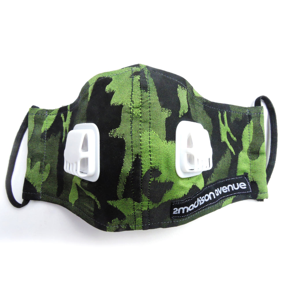 Army Green Facemask With Air Valve-2MADISONAVENUE.COM