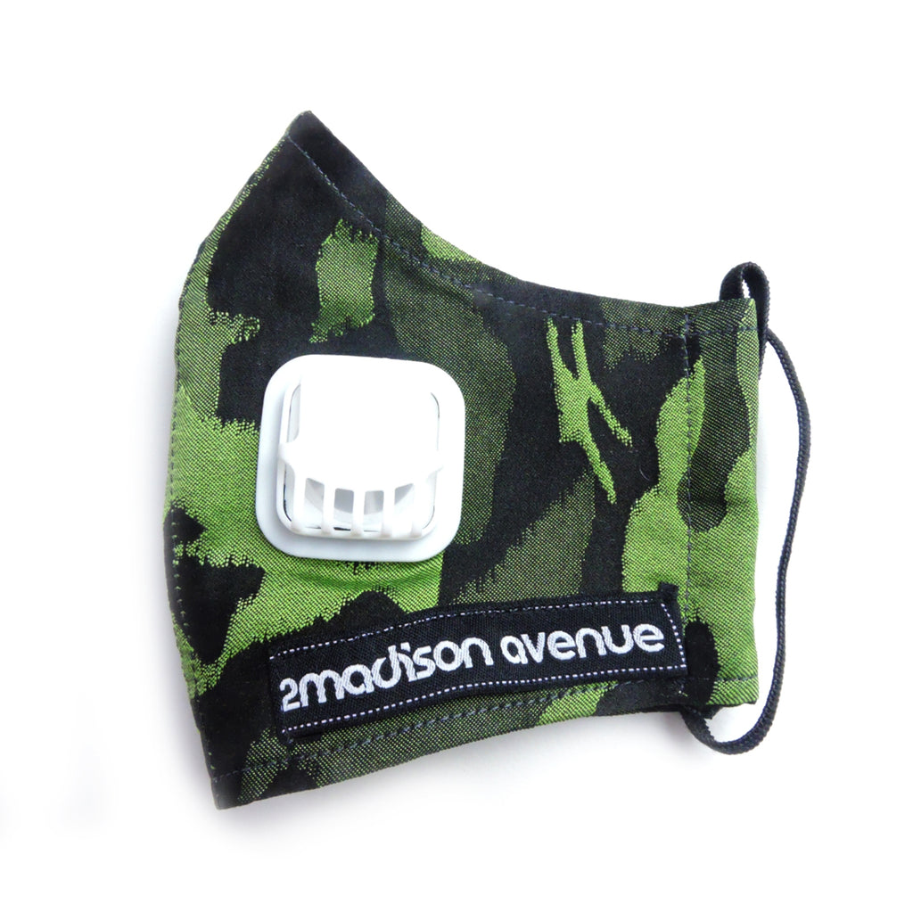 Army Green Facemask With Air Valve-2MADISONAVENUE.COM (4418791178263)