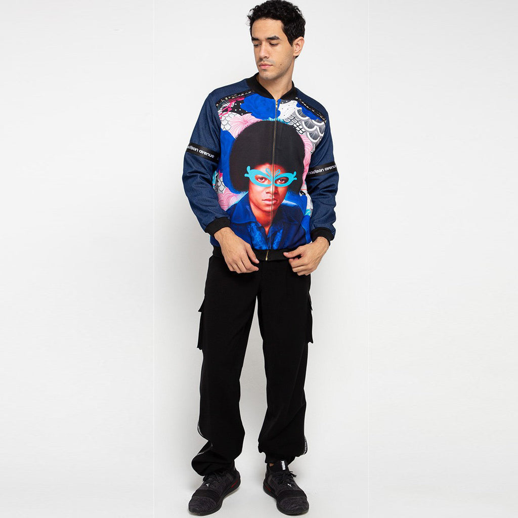 Man Varsity Denim Jacket Recharging With Michael Jackson-2MADISONAVENUE.COM (4322924789783)