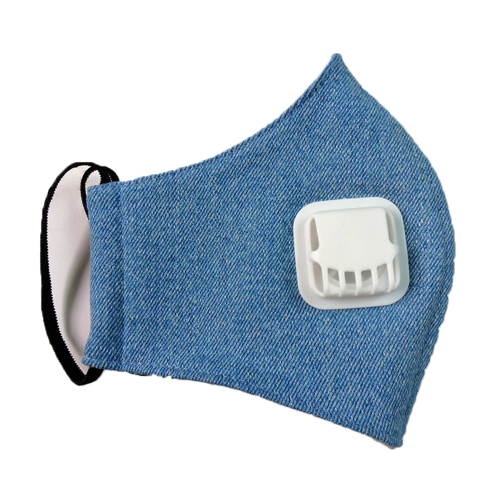 Recharging Blue Facemask With Air Valve-2MADISONAVENUE.COM