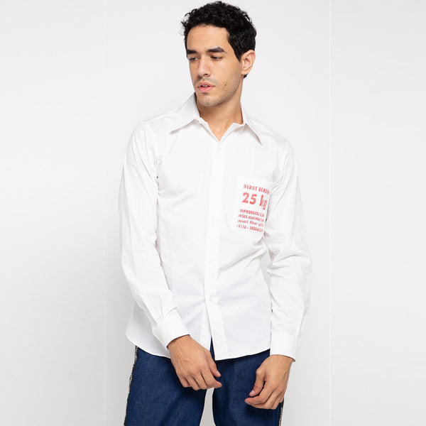 Go Green Man Long Shirt in White