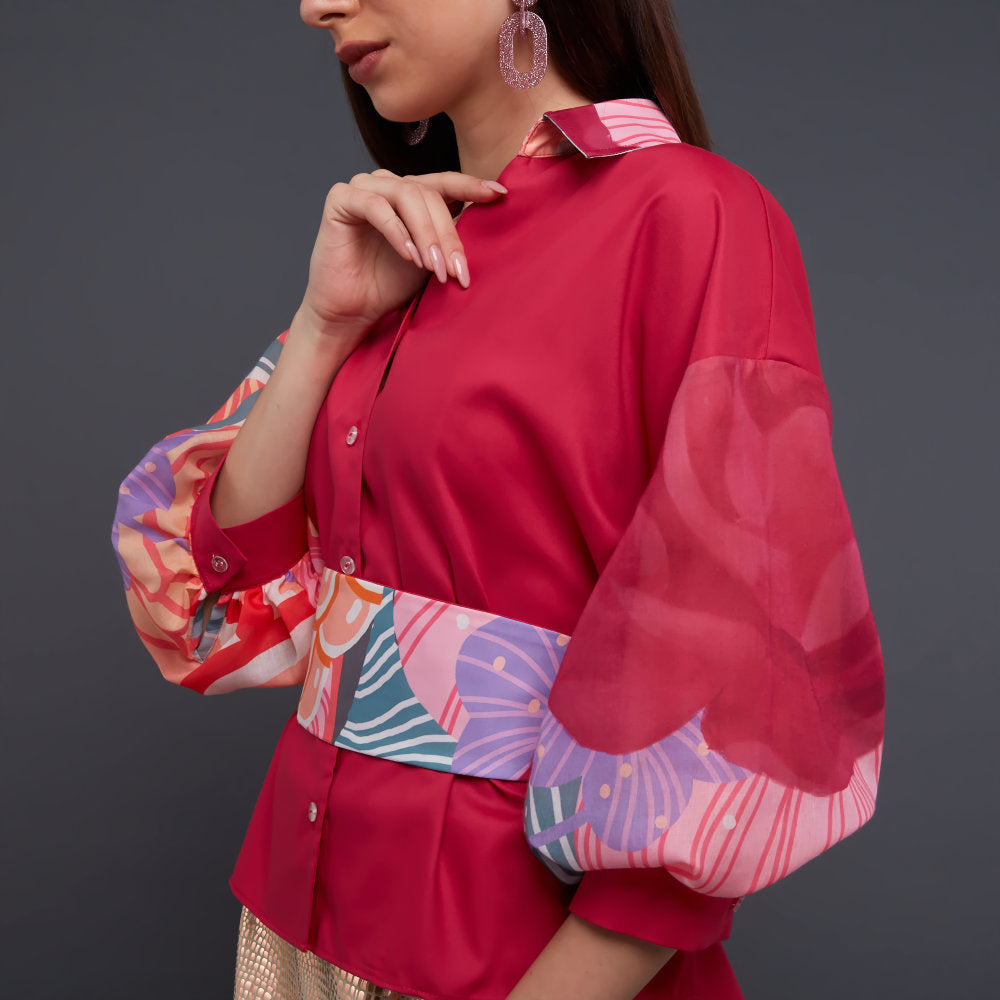 Relax Top with Baloon Sleeves in Recharging Pink with Belt (4826694090775)