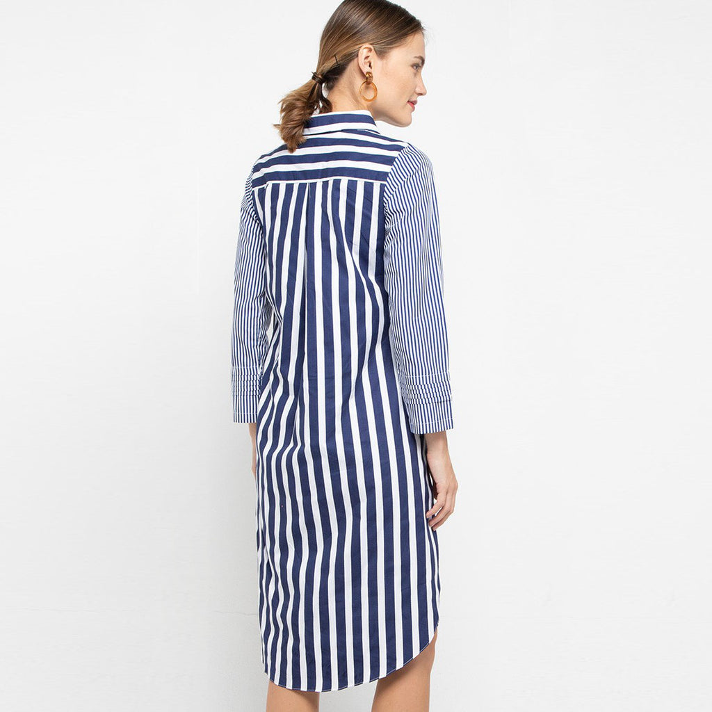 Smart Shirt with Tail in Stripe Navy Large-2MADISONAVENUE.COM