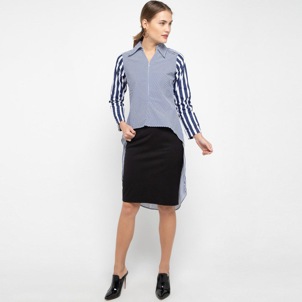 Smart Shirt with Tail in Stripe Navy Small-2MADISONAVENUE.COM