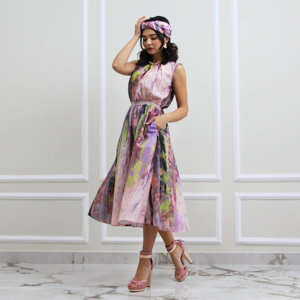 Summer Dress With Abstract Purple Reminiscence (6548791066647)