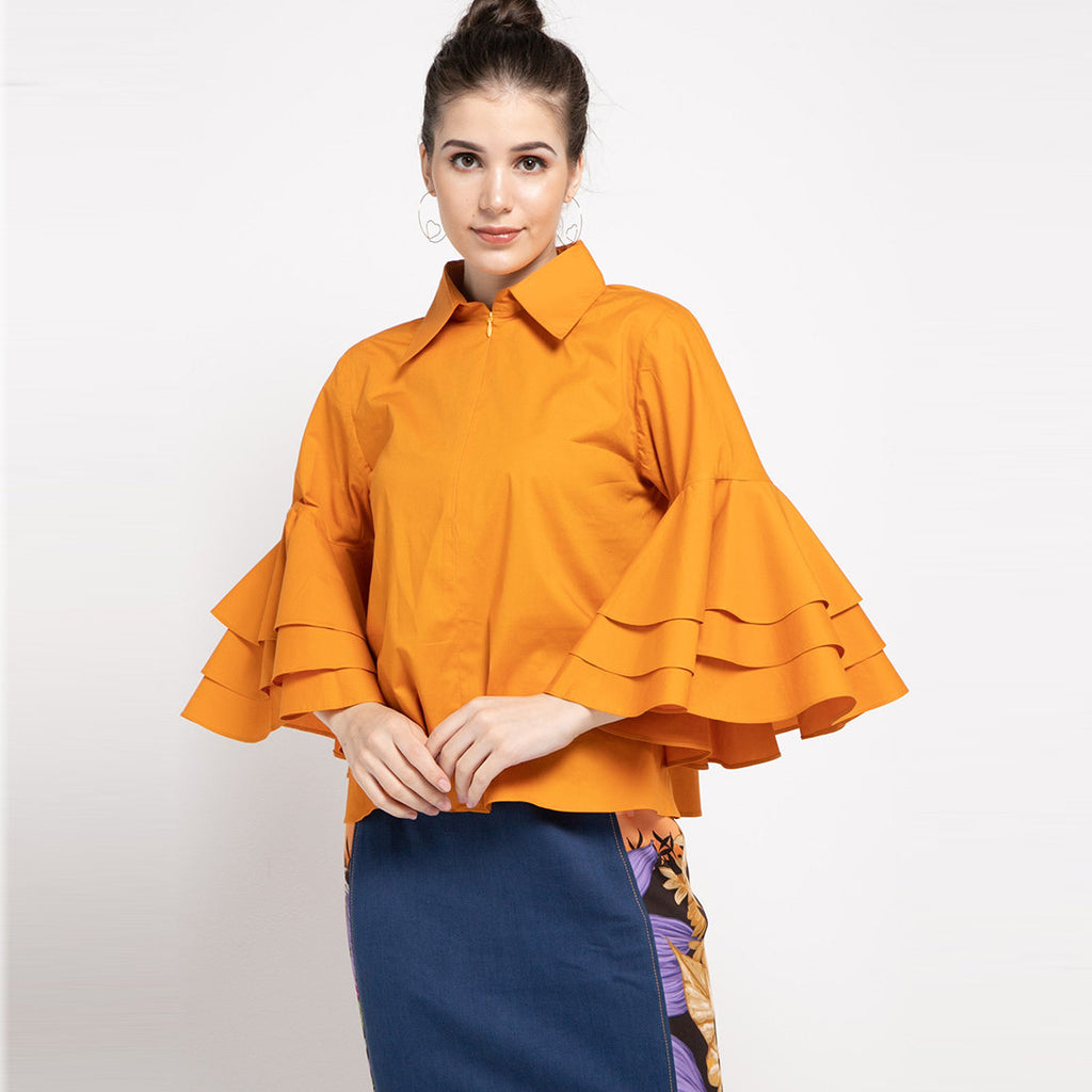 Tango Shirt in Yellowish Orange-2MADISONAVENUE.COM