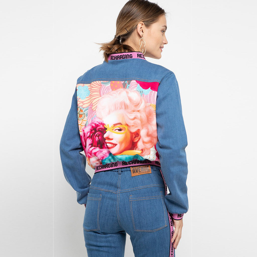 Varsity Denim Jacket Recharging With Marilyn and Puppy Art-2MADISONAVENUE.COM (4322914795543)
