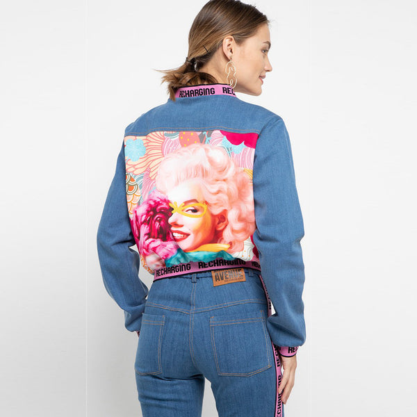 Varsity Denim Jacket Recharging With Marilyn and Puppy Art