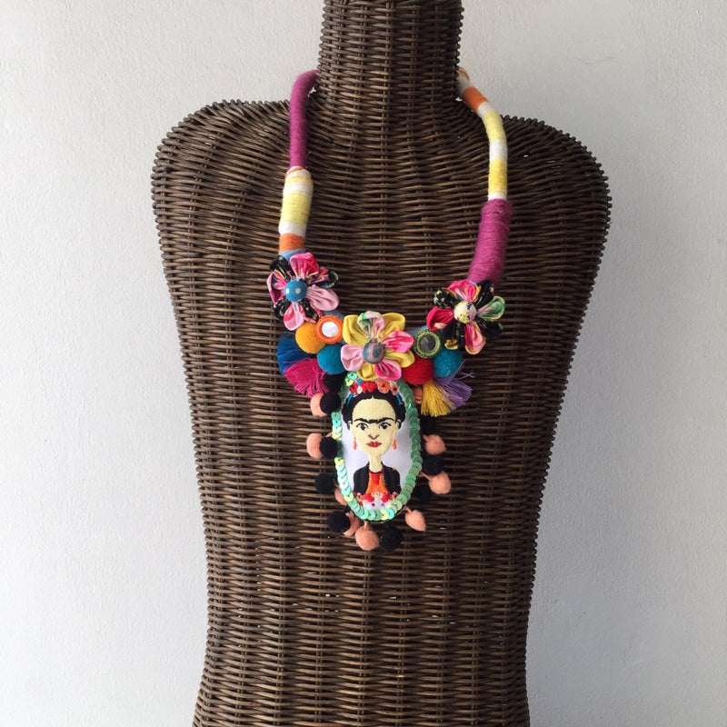 Frida Khalo Embroidery Necklace-2MADISONAVENUE.COM