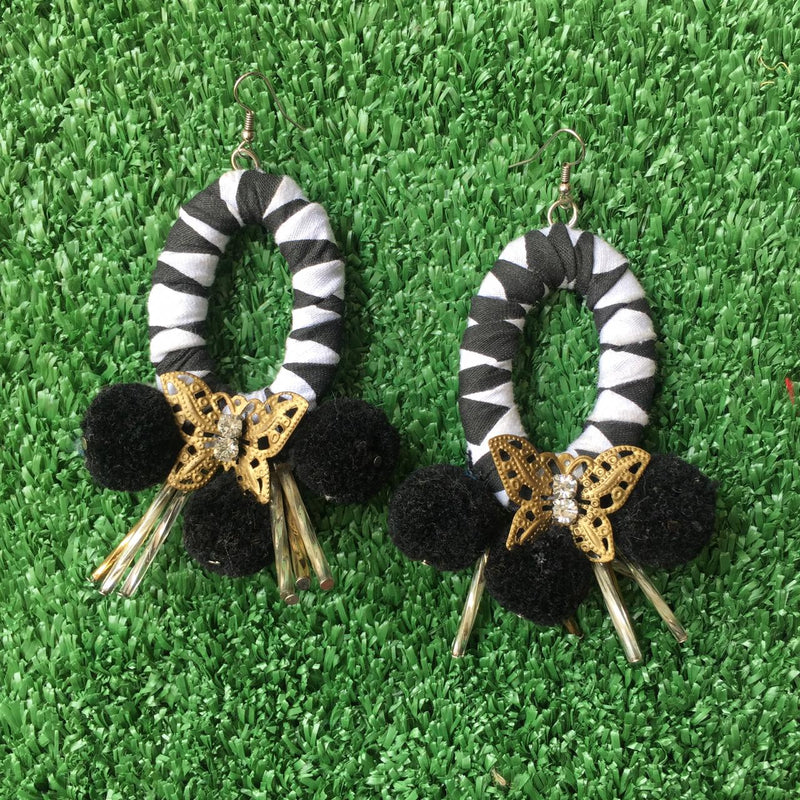 Black & White Pom Earrings-2MADISONAVENUE.COM