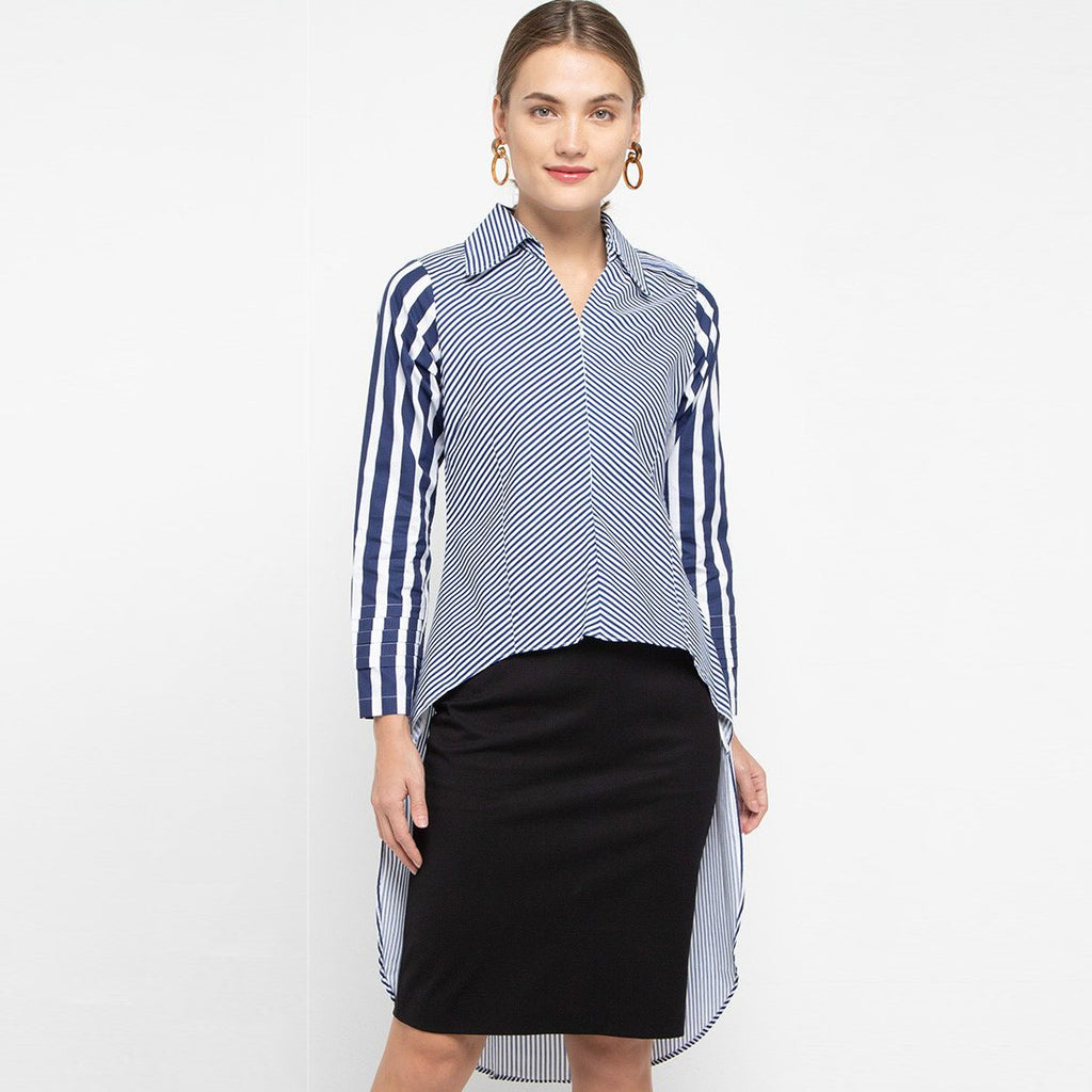 Smart Shirt with Tail in Stripe Navy Small-2MADISONAVENUE.COM (4326918946839)