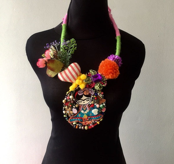 Frida Kahlo Embroidery Necklace-2MADISONAVENUE.COM