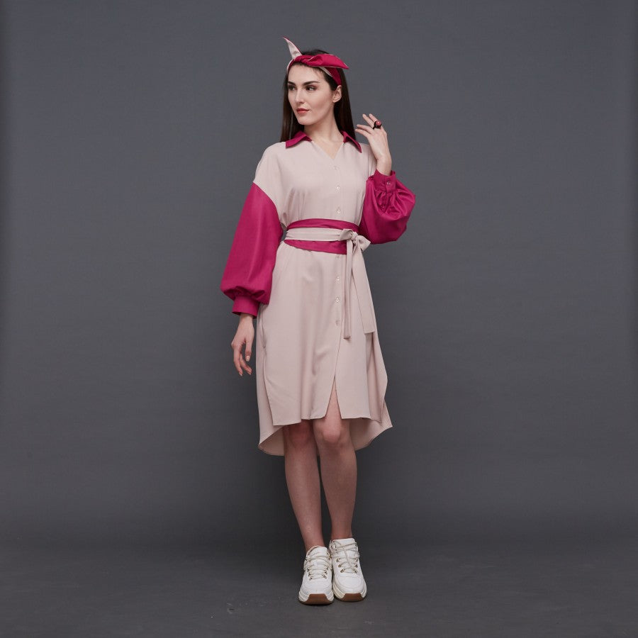 Modest Relax medium Dress in Beige Fucshia (4846346567703)