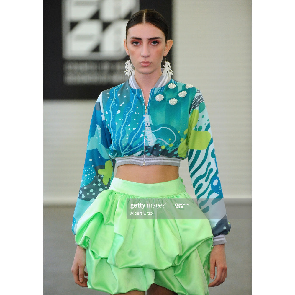 Liga wave mini skirt in neon green (4534895673367)