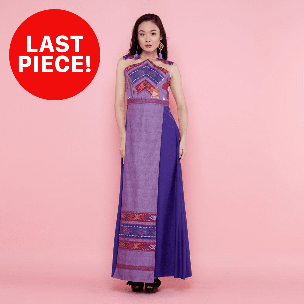 Cordelia Long Dress With Surprise Art In Purple with Ulos-2MADISONAVENUE.COM (1954627026986)