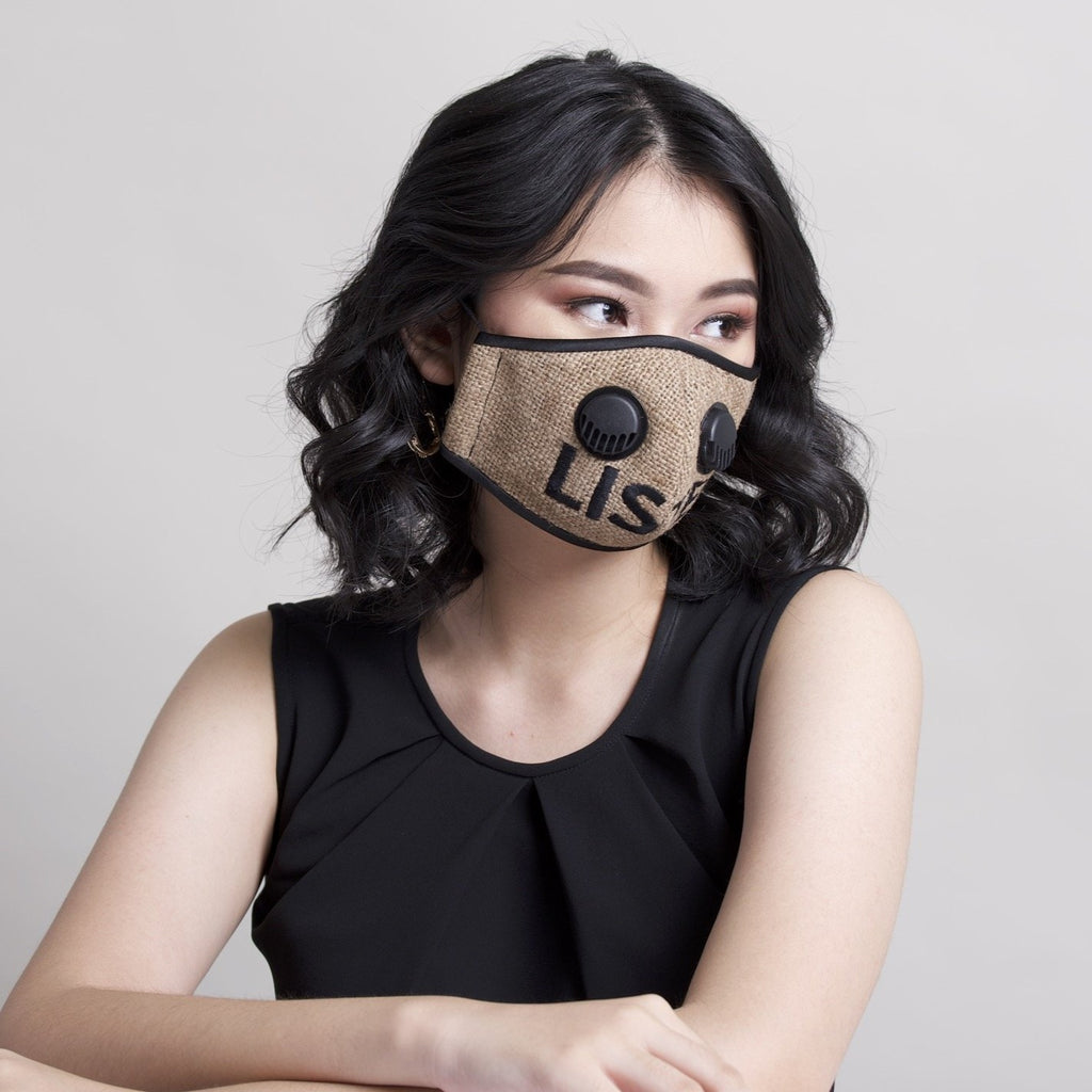 Listen Recycled Sack Facemask With Air Valve (6535925399575)