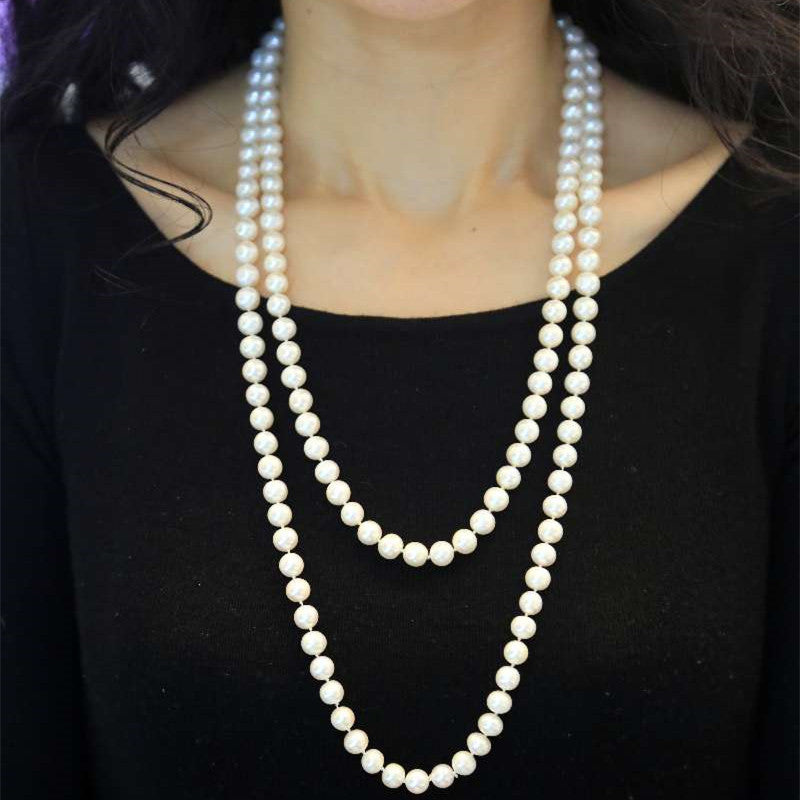 1.3m long 7.5-8mm freshwater pearl necklace
