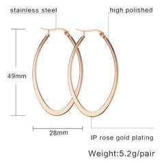 Oval Plated Titanium Steel Earrings