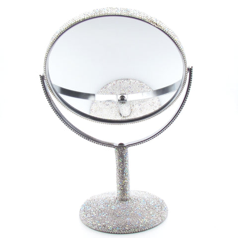Hand inlaid Rhinestone and Czech diamond bling bling magnify mirror