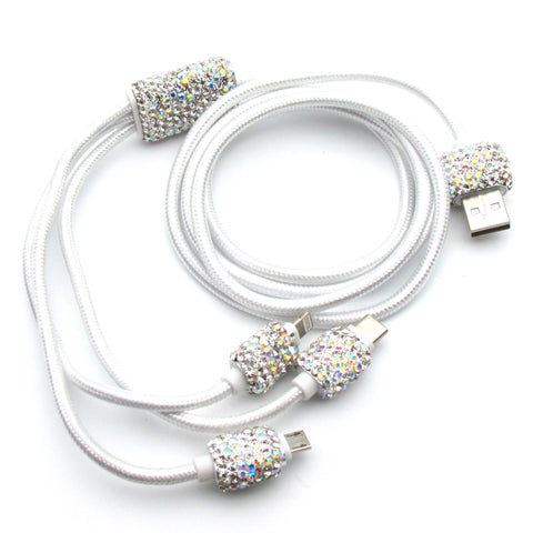 Handcraft  Rhinestone bling bling multiple phone charge cable