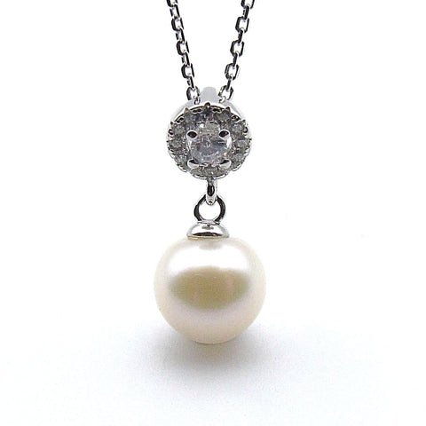 Sterling silver with 8.5mm freshwater pearl pendant