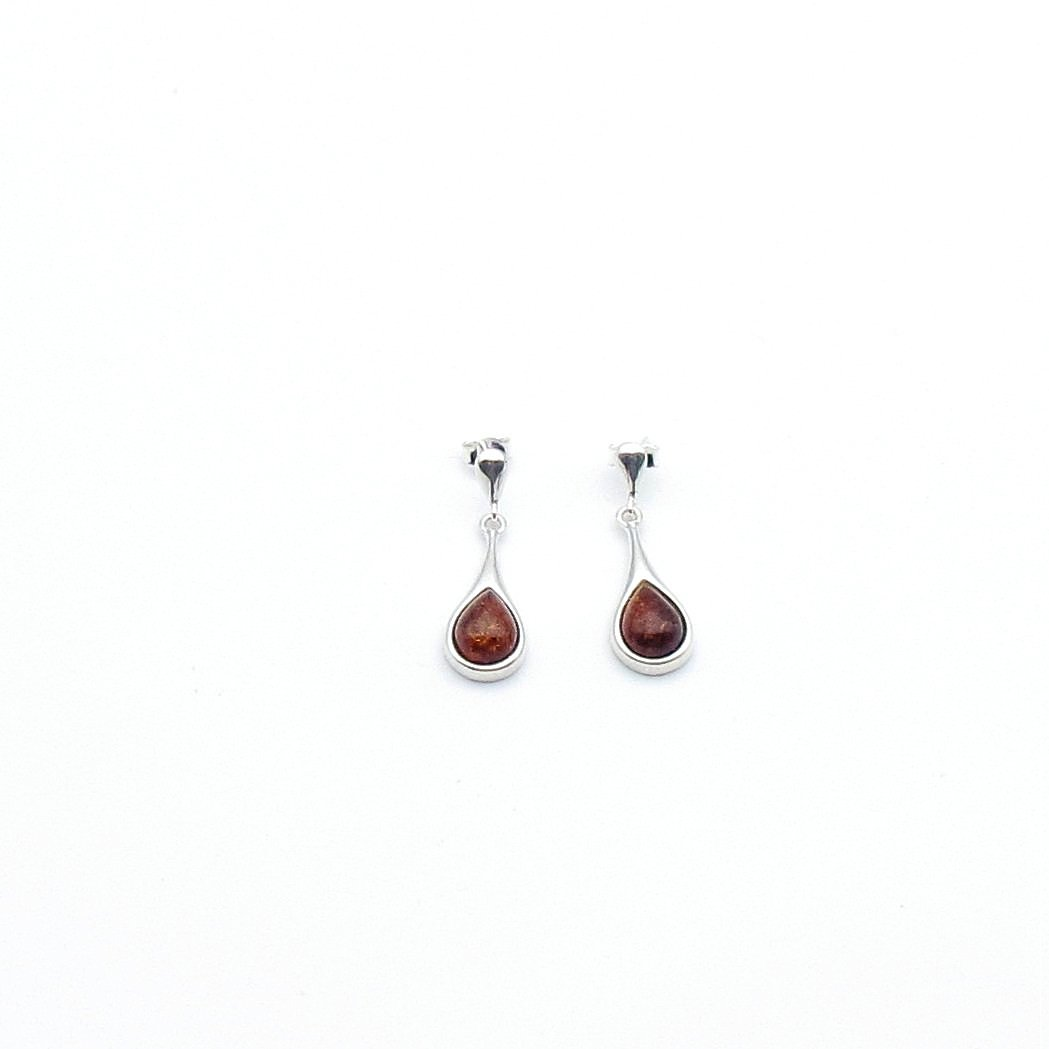 Teardrop dangling sterling silver with Baltic Amber earring