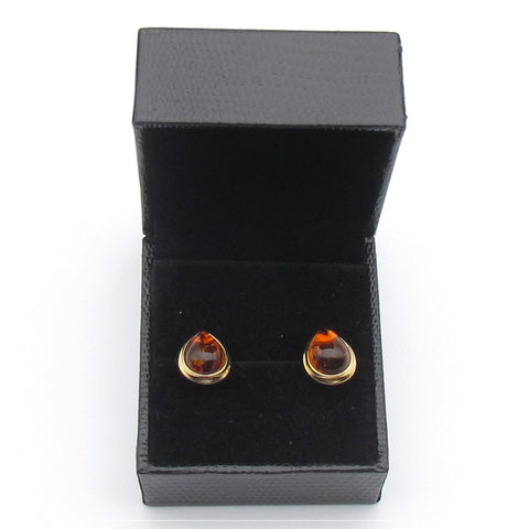 Tear drop shape Baltic Amber stud earring