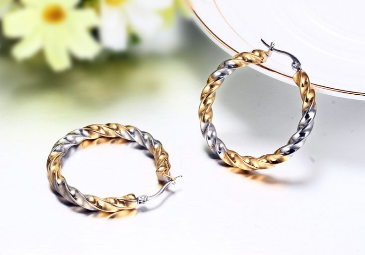 Wavy Lines  stainless steel Round Earrings
