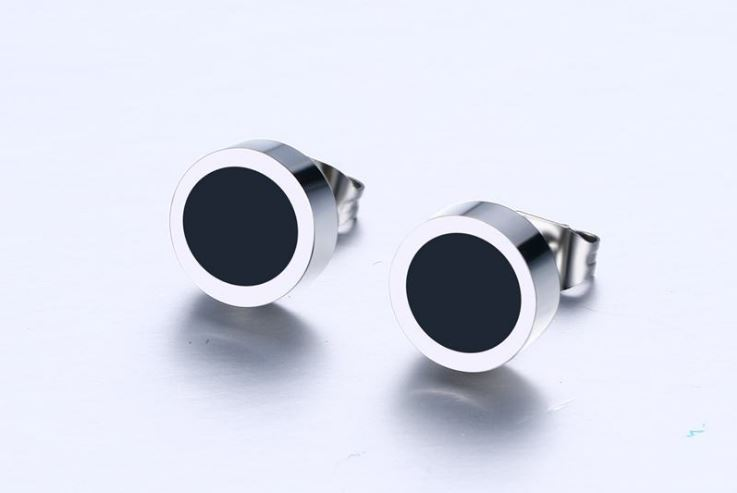 Unisex 8mm Stainless Steel Stud Earrings
