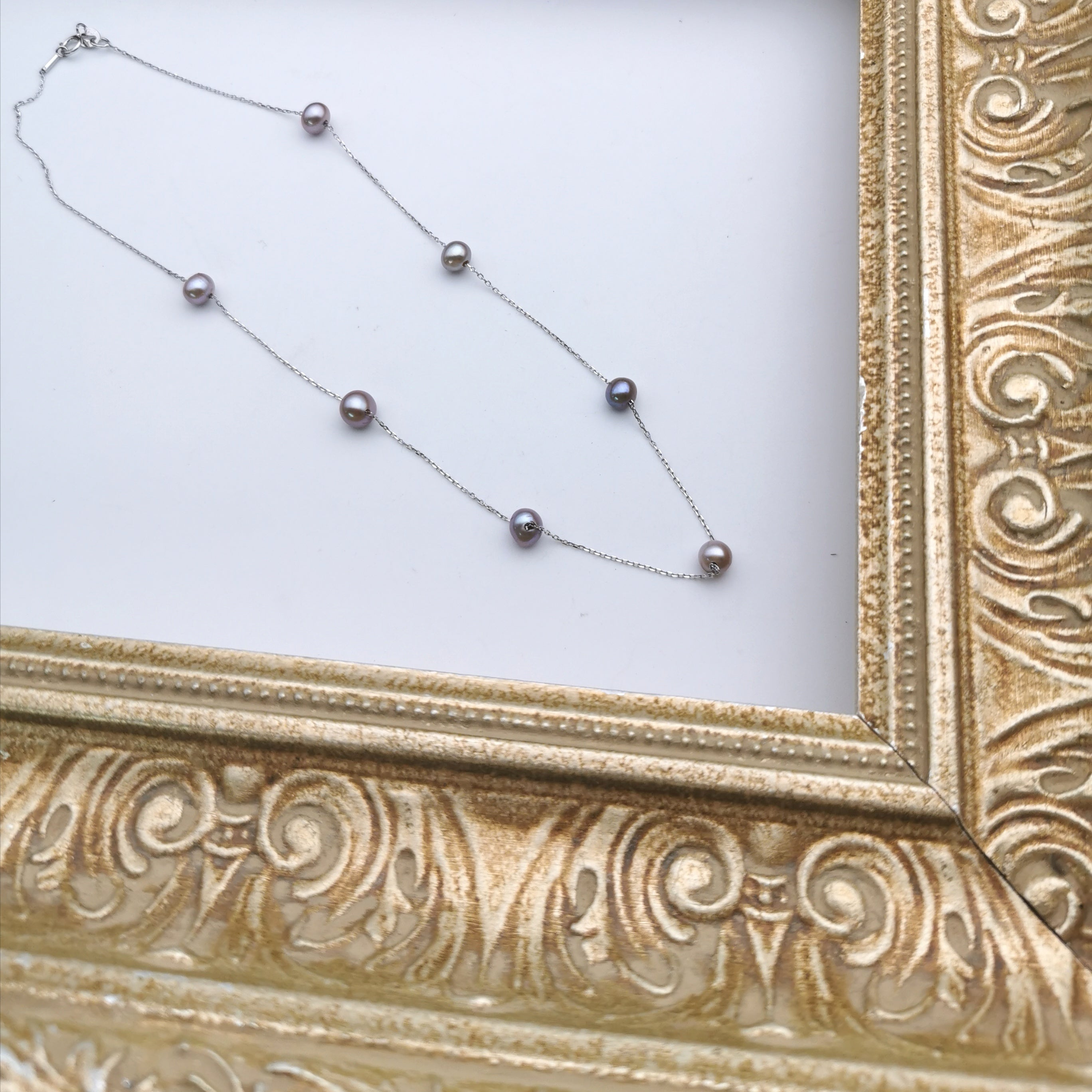 sterling silver freshwater purple pearl necklace