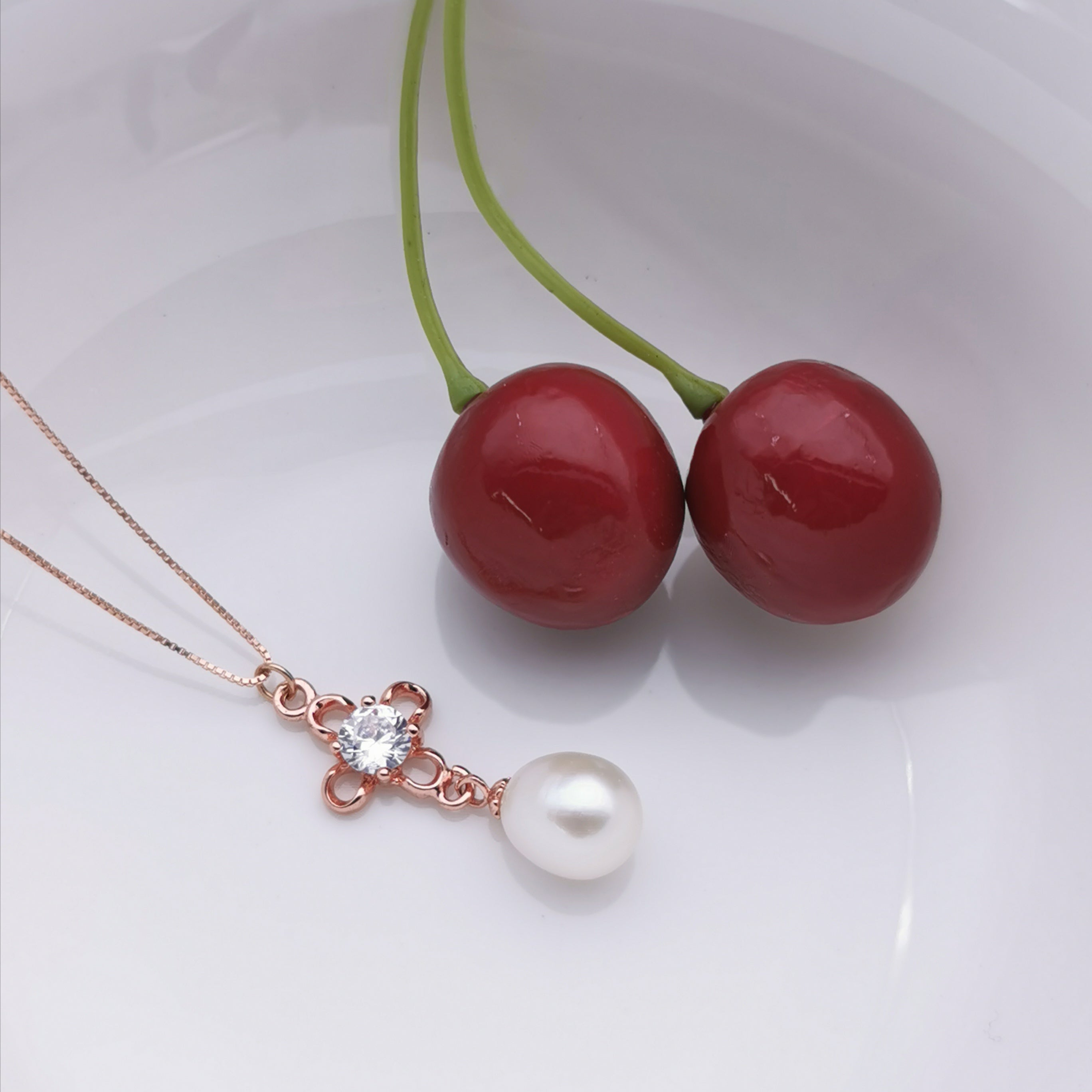 sterling silver rose gold plated freshwater pearl necklace