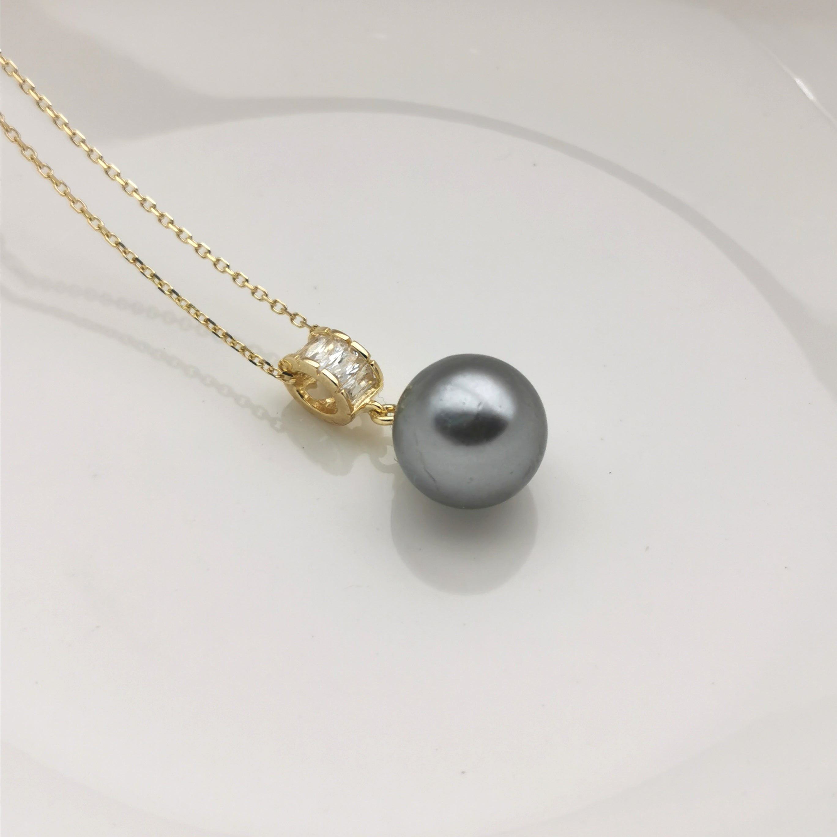 sterling silver gold rodium plated shell pearl necklace