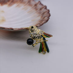Little cute bird black freshwater pearl brooch
