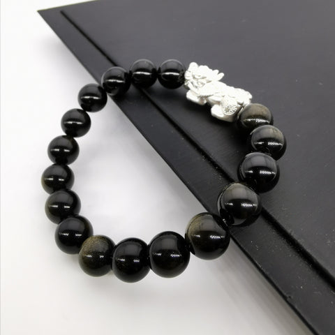 3D sterling silver Pixiu with golden obsidian strech bracelet