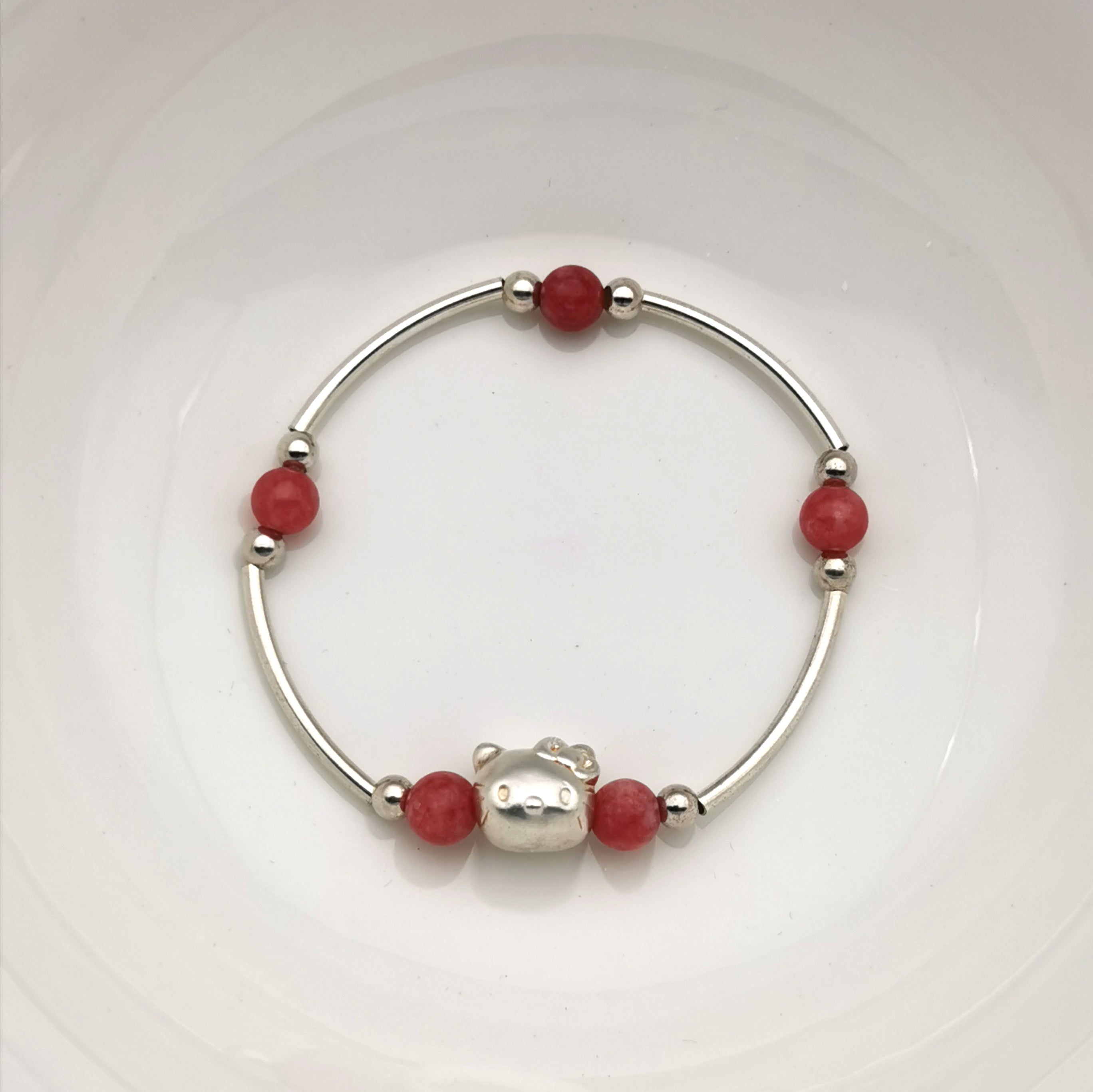 Handmade cute 3D s999 silver with Rhodochrosite stretch brelect
