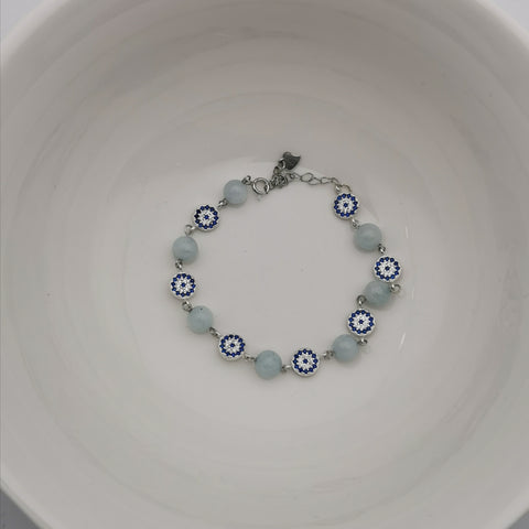 Handmade sterling silver evil eye with aquamarine adjustable bracelet