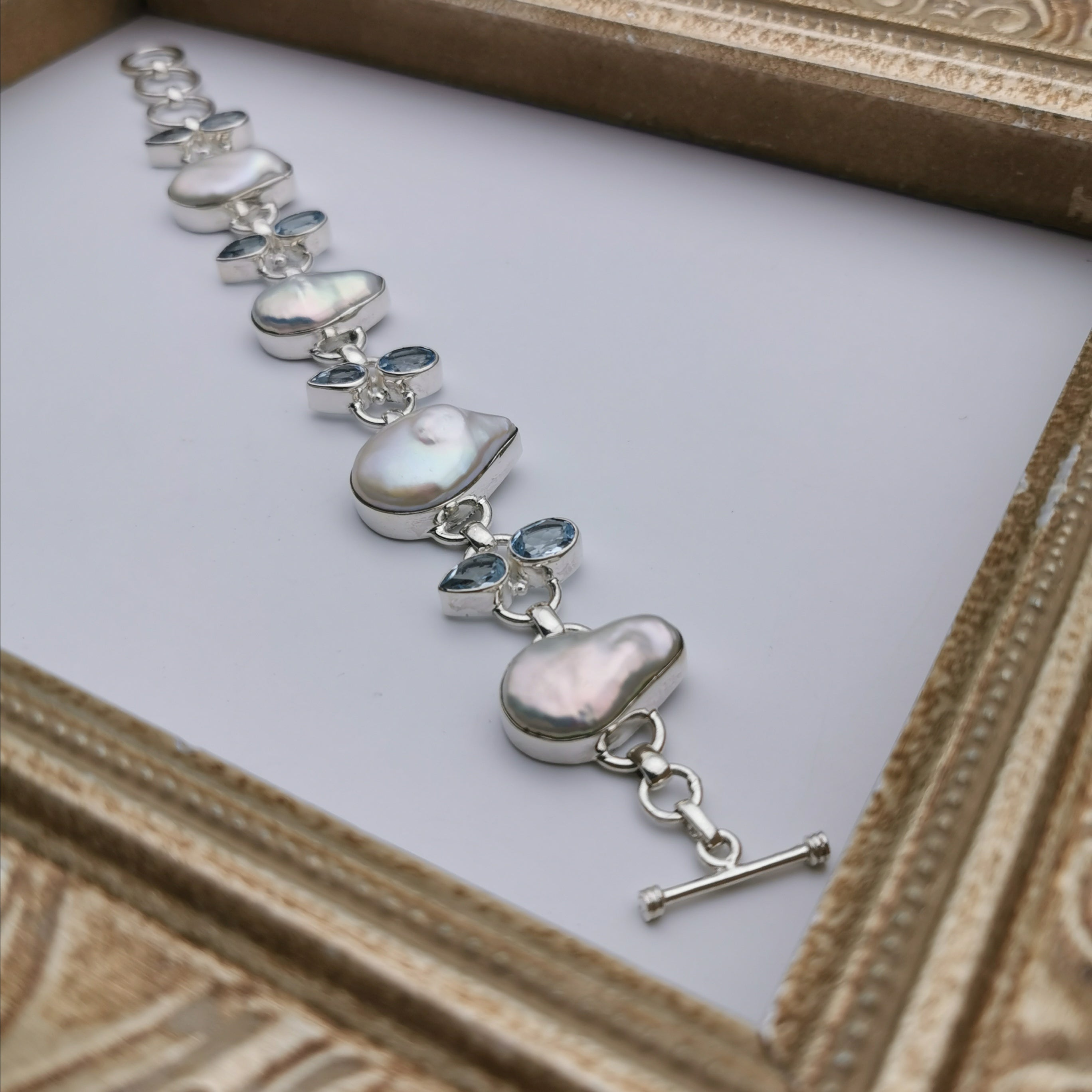 Unique sterling silver with nature baroque pearl+nature Topaz bracelet