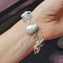 Unqiue sterling silver with nature baroque pearl+nature Topaz bracelet