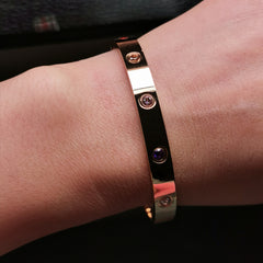 Unisex stainless steel multi colour cubic zironia bangle