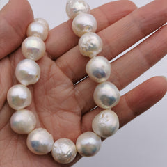 Sterling silver baroque freshwater pearl necklace