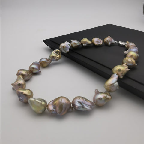 13-15mm baroque pearl with sterling silver clasp purole neckalce