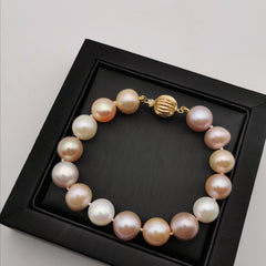 18ct gold with 10.5-11.5mm freshwater multi colour pearl bracelet