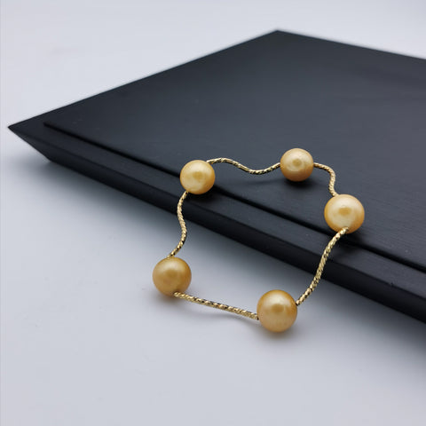 Sterling silver gold rhodium plated with gold colour freshwater pearl strech bracelet
