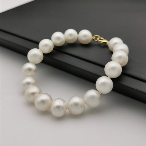 11mm freshwater pearl bracelet with sterling silver gold plated bracelet
