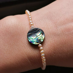 3mm mini pink freshwater pearl with Paua shell stretch bracelet