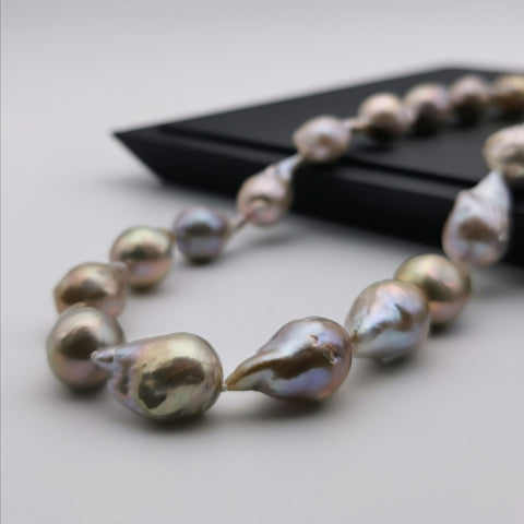 13-14mm purple Baroque pearl with sterling silver clasp necklace
