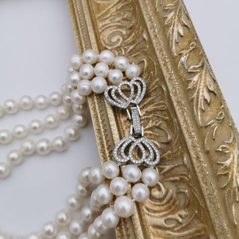 9-9.5mm freshwater pearl wedding/anniversary three layer luxury necklace