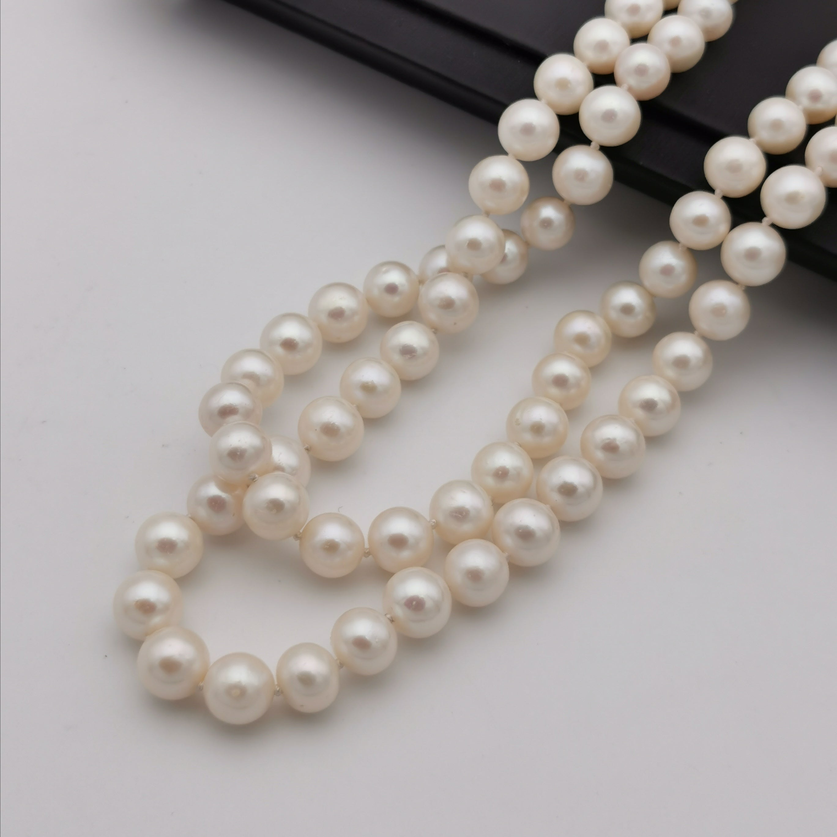 8mm freshwater pearl with sterling silver clasp long necklace