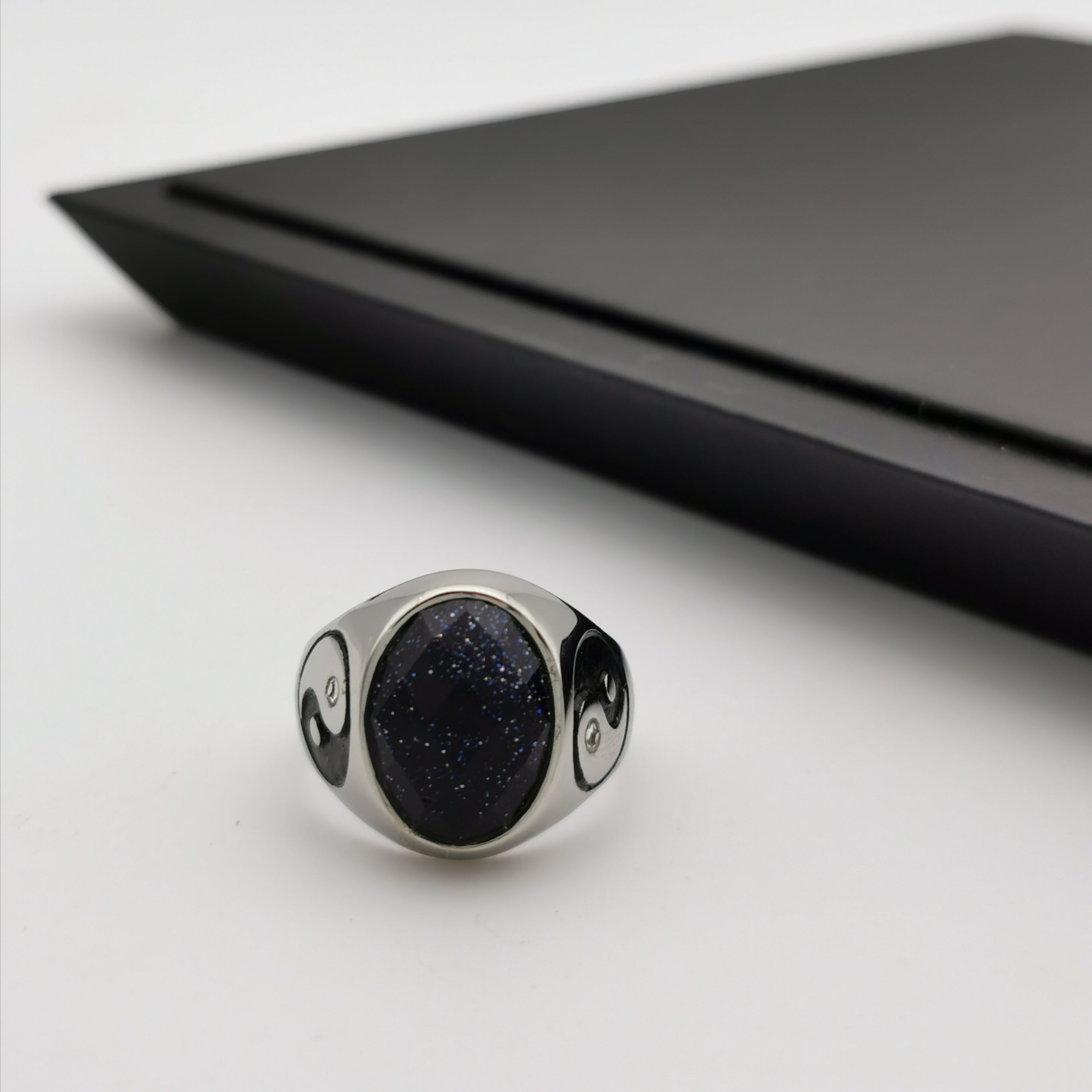 Man's stainless steel Yinyang ring